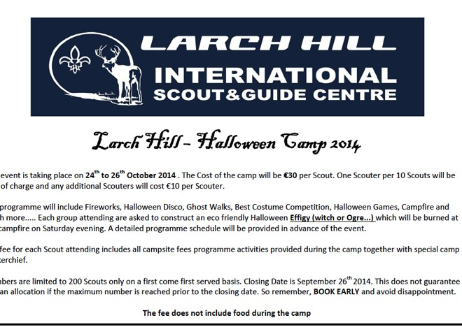 Halloween Scout Camp 24th to 26th October 2014
